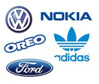 Przykłady marek z niebieskim logo