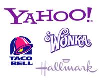 Przykłady marek z fioletowym logo