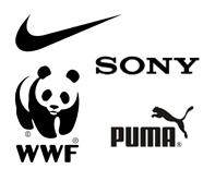 Przykłady marek z czarnym logo
