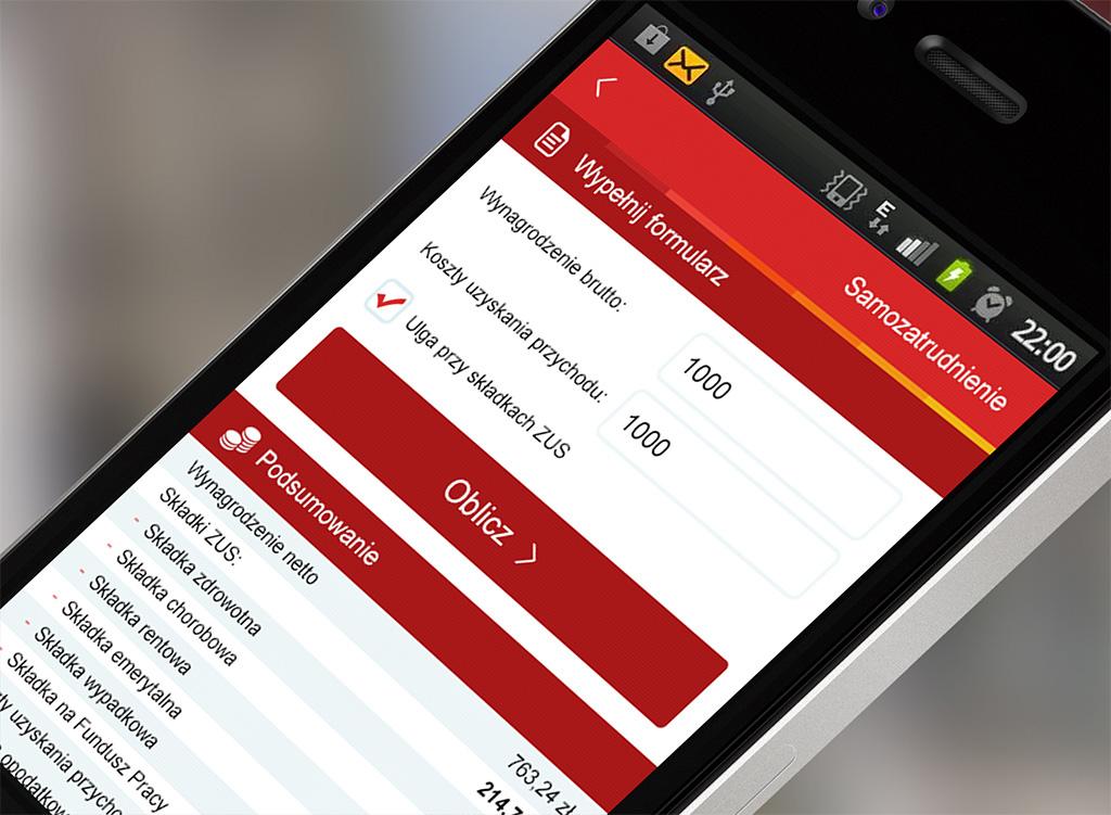 Kalkulator dla przedsiębiorcy - widok aplikacji